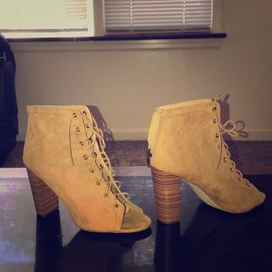 Faux suede tan  lace up bootie with zipper in back
